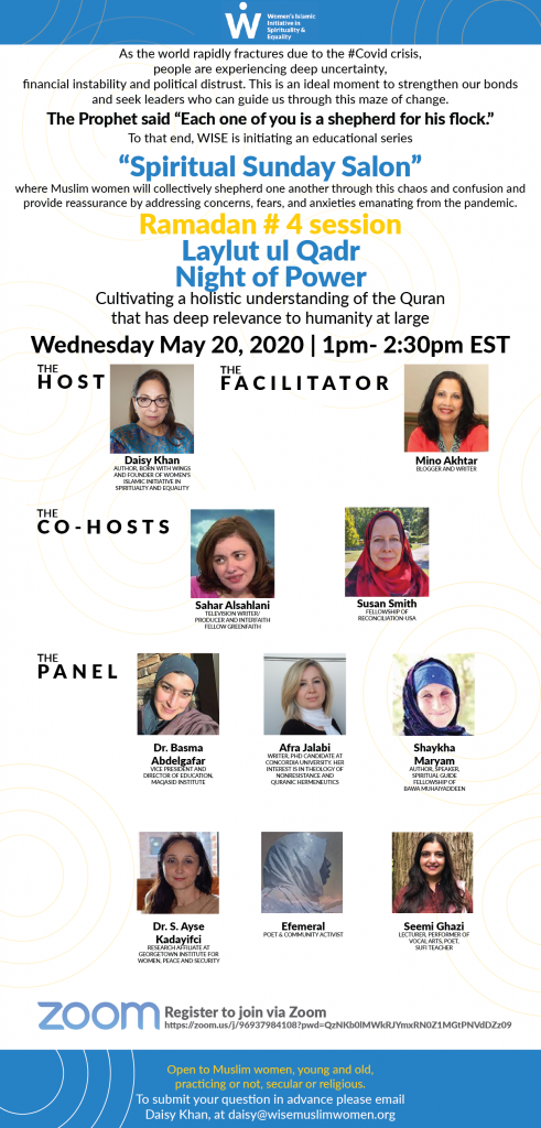 Muslim Women Zoom into the Quran Flyer for May 20th with images of each Muslim women speaker and their short biographies