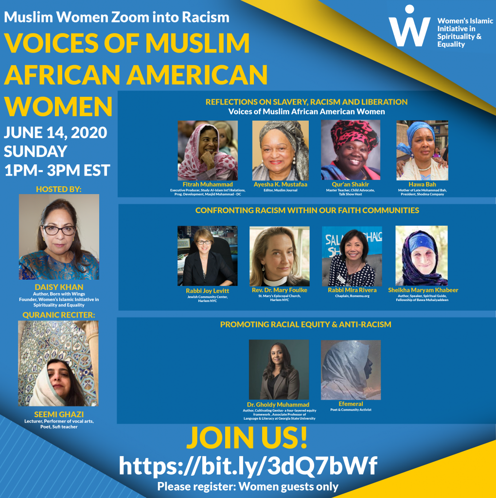 Muslim Women Zoom into Racism Flyer for June 14th with images of each Muslim women speaker and their short biographies